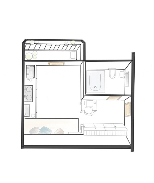 Rhianna的小公寓平面圖。