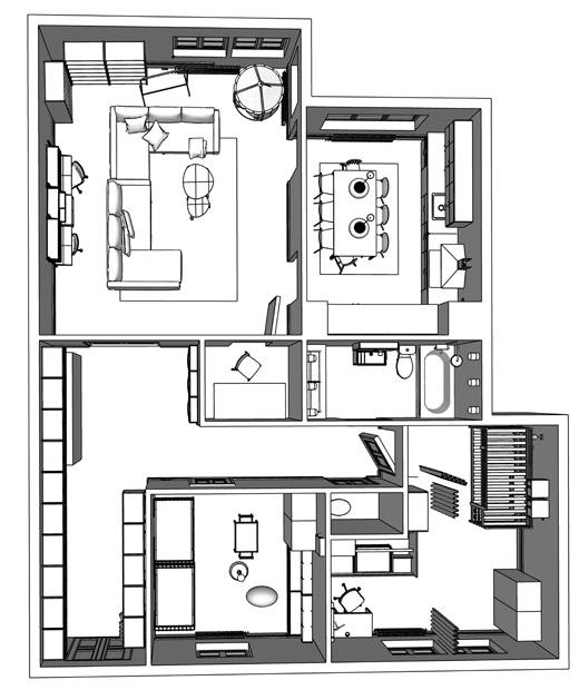 新宜家家居產品目錄內兩房示範單位的平面圖