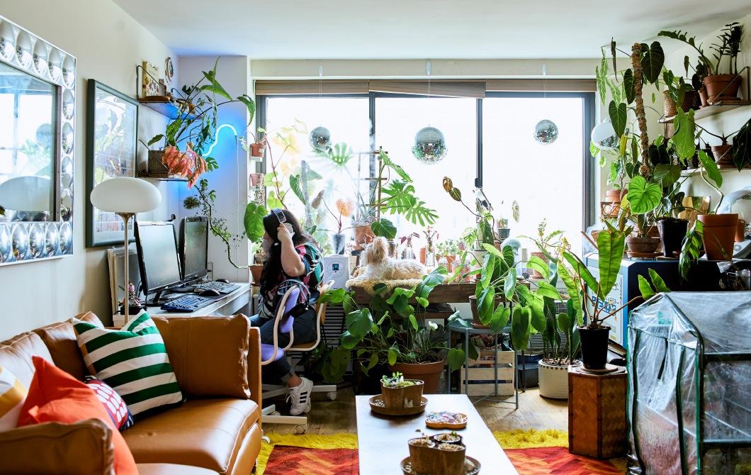 開放式生活空間的窗前擺放植物,並設有工作間。