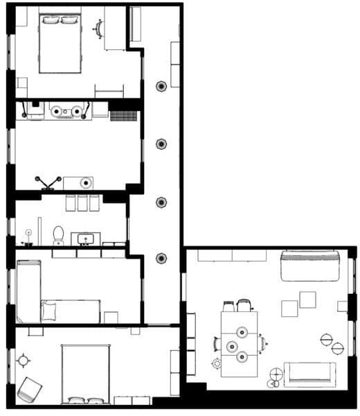 室內設計師Hans Blomquist設計的共居單位平面圖。