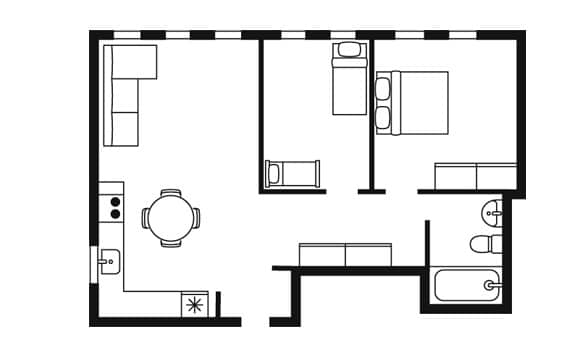 Schematic illustration, like a blueprint, of the apartment acting backdrop and props for the other images in this piece.