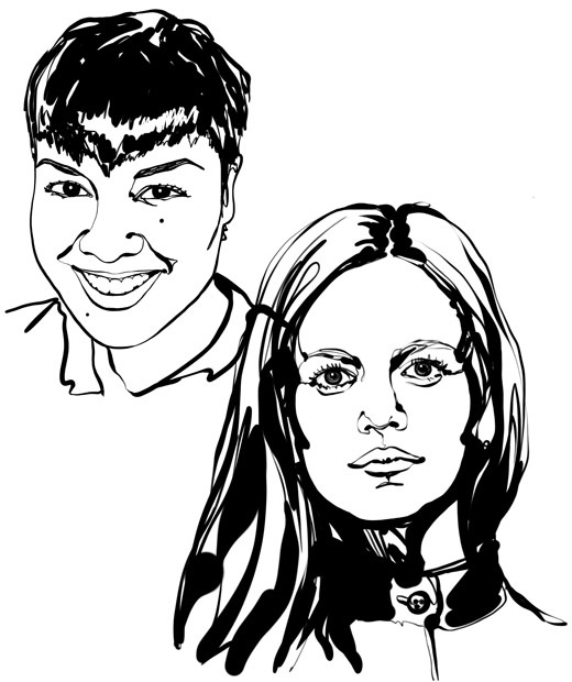 Black-and-white, face-focused sketch of the two interior designers featured in the text, Kristin Perez and Kristina Pospelova.