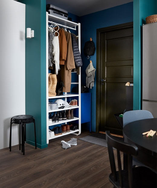 Corner of a larger room serving as a hallway. Next to the front door is a shelving unit with various open storage.