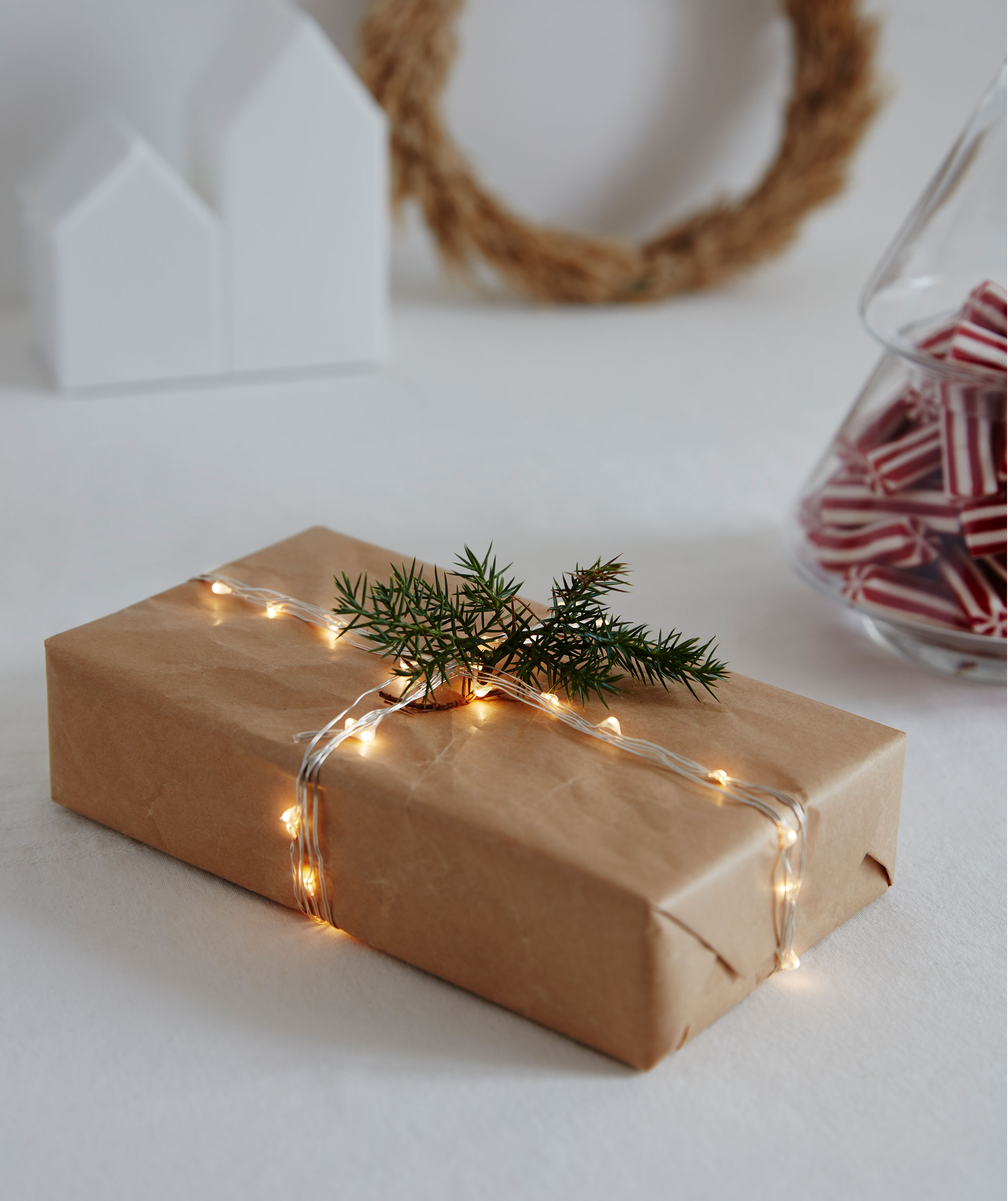 A rectangular gift wrapped in brown paper with a thin, lit lighting chain acting as string; a spruce-like twig for decoration.
