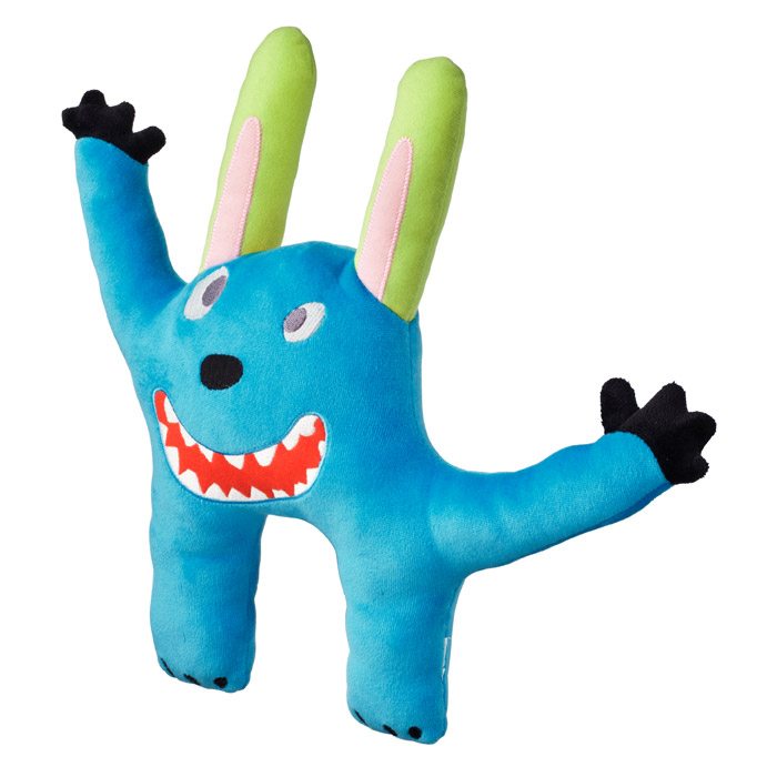 A blue monster soft toy.