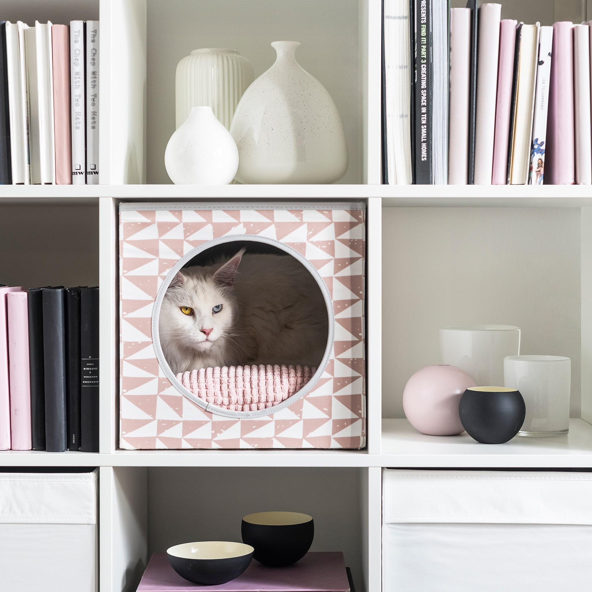 一隻貓躲在書架上的花紋立方形貓屋,旁邊的貯物格放著各種裝飾。