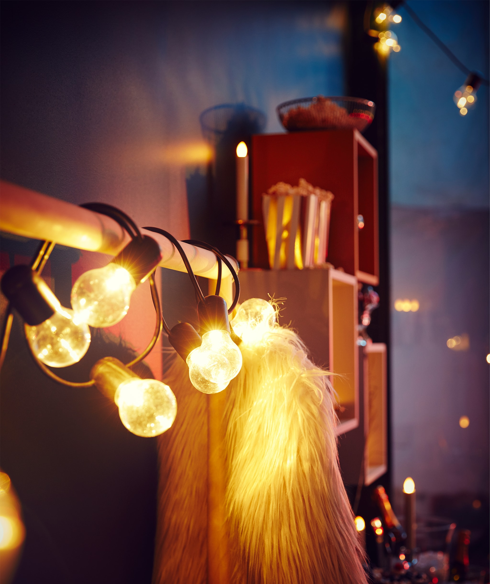 放在牆邊的掛衣架,掛有一件派對風格的毛毛外套,一條大燈串裝飾掛衣桿。