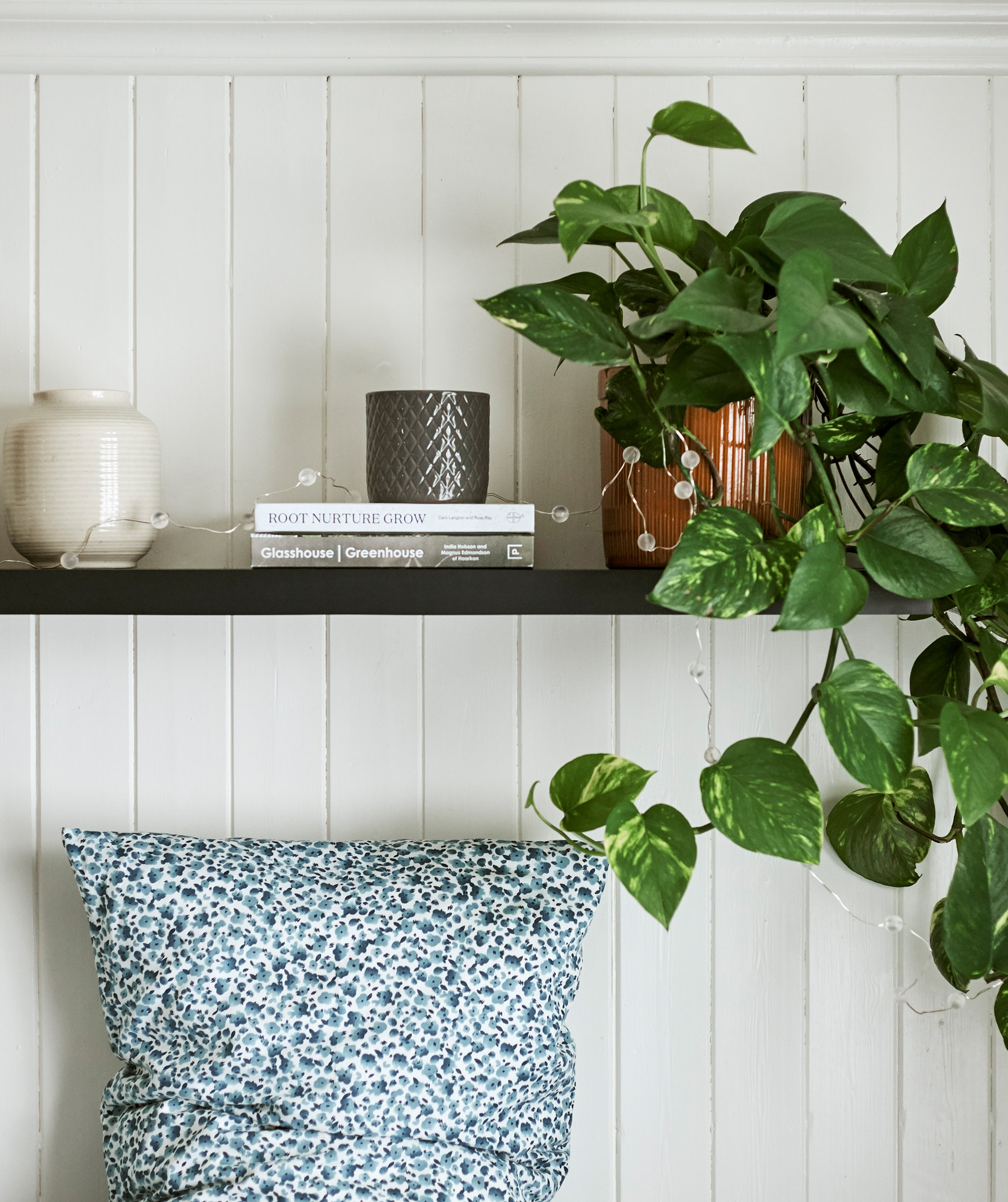 一盆攀爬植物、花瓶和書放在深色木層架上,下方的睡床擺放藍白圓點圖案枕頭。