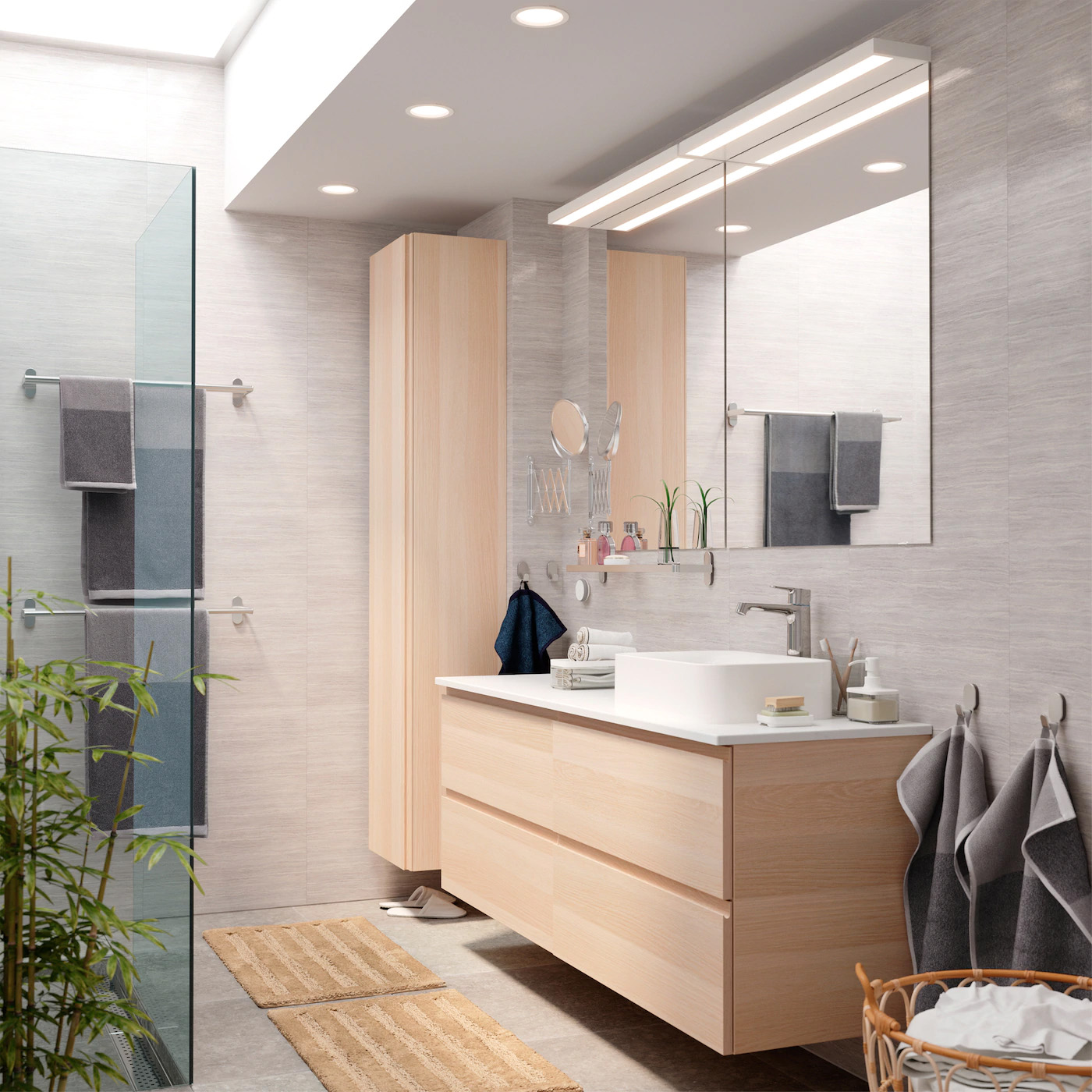 A bathroom with behind-the-scenes storage