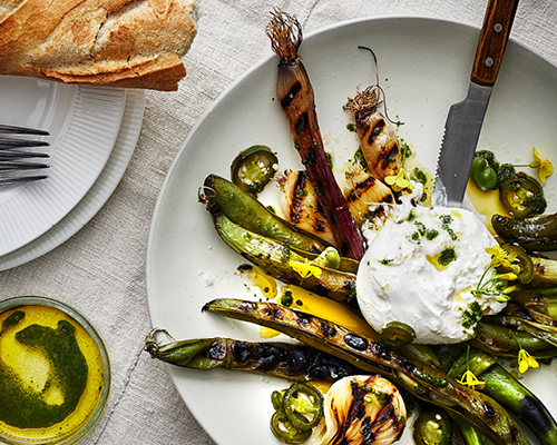 Grilled vegetables with burrata image