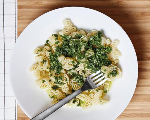 Organic pasta with kale pesto image