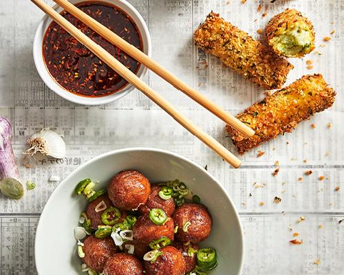 瑞典肉丸配炸蔬菜薯餅條 image