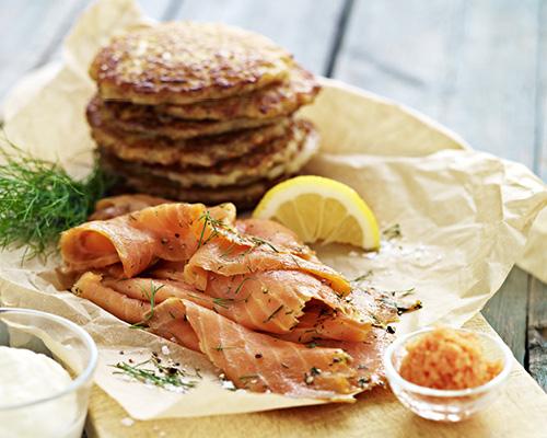 Salmon and seaweed pearls on RÖSTI  image